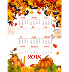 Autumn 2018 calendar template falling leaf vector