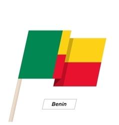 Benin Ribbon Waving Flag Isolated on White vector image