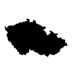 Black silhouette country borders map of czech vector