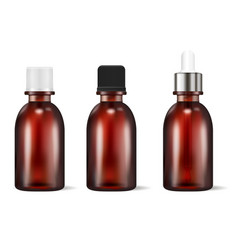 brown glass cosmetic or medicine bottles set vector image