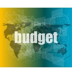 budget word on touch screen modern virtual vector image