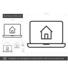 Buy house online line icon vector