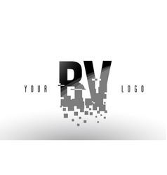 Bv b v pixel letter logo with digital shattered vector