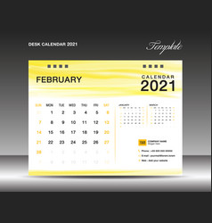 Calendar 2021 template design february template vector