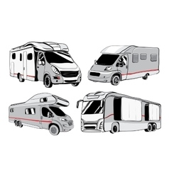 Cars Recreational Vehicles Camper Vans Caravans vector
