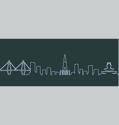 Charleston single line skyline vector
