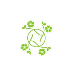Circle green leaf beauty logo vector