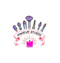 Cosmetics logo handwritten lettering makeup vector