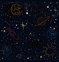 cosmic pattern with stars planets moon rocket vector image