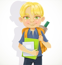 Cute schoolboy with textbooks on white vector image