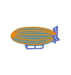 cute vintage airship air vehicle cartoon vector image