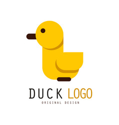 Duck logo design element with yellow rubber duck vector