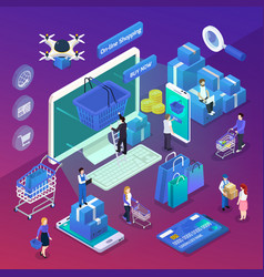e-commerce isometric composition vector image