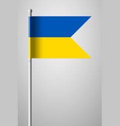 Flag of ukraine national flag on flagpole vector