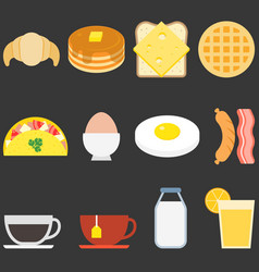 food icons breakfast vector image