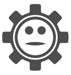 gear neutral smiley flat icon vector image