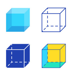 geometric cube icon set in flat and line style vector image