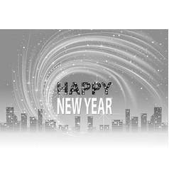 grayscale happy new year background vector image