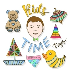 Hand drawn kids toys collection Childish colorful vector