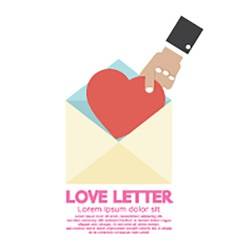 Hand Pick A Heart Love Letter Concept vector