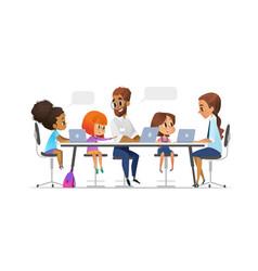 Happy children tutor and teacher sitting vector