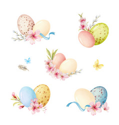 happy easter watercolor set vector image