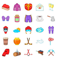 hockey clothing icons set cartoon style vector image
