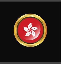 Hongkong flag golden button vector