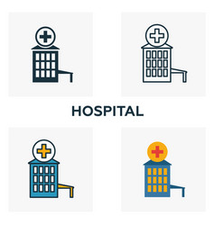 hospital outline icon thin style design from city vector image