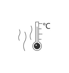 Hot surface temperature thermometr with celsius vector