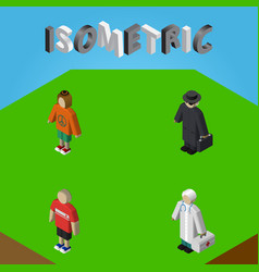 Isometric people set of lady detective medic and vector