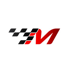 Letter m with racing flag logo vector