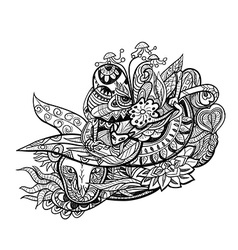 Line art for coloring of abstract shape and line vector image