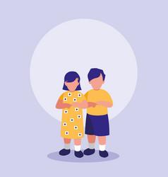 little kids couple characters vector image