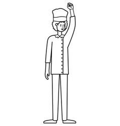 man cook hand up avatar character vector image