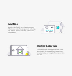 mobile banking and savings wallet with credit vector image