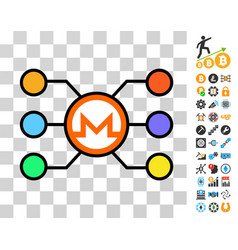 monero network nodes icon with bonus vector image