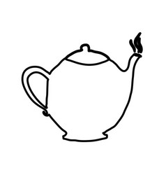 Monochrome contour hand drawn with teapot of vector