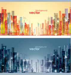Night and day city skyline vector