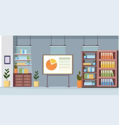 Office furniture flip chart financial presentation vector