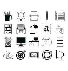 Office supply stationery work business linear vector