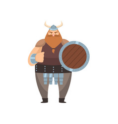 Old red-bearded viking stands with shield and vector