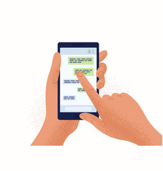Pair of hands holding smartphone or mobile phone vector