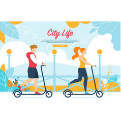 people characters riding scooter on city park vector image