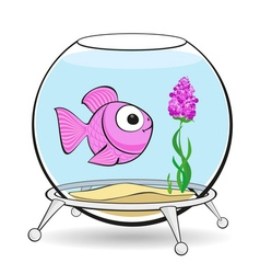 Pink fish in fishbowl vector