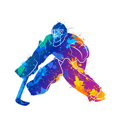 Player hockey goalie vector