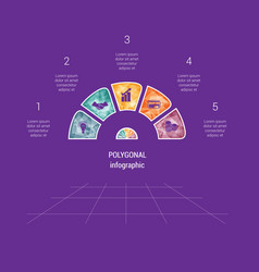 polygonal semicircle template infographic 5 vector image