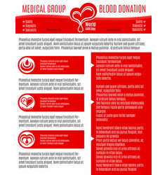 Poster for blood donation medical group vector