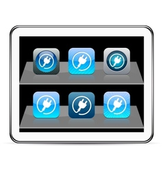 Power plug blue app icons vector