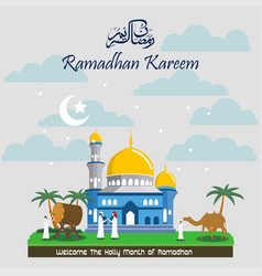 ramadan kareem with mosque background vector image